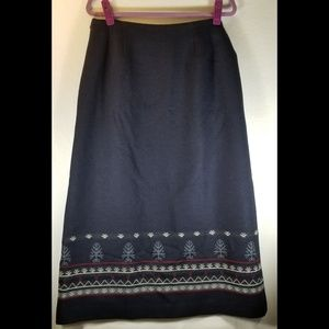 Pendleton Womens Blue Long Skirt 100% Wool, Lined